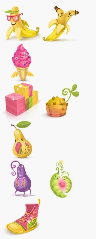 可爱卡通水果图标素材