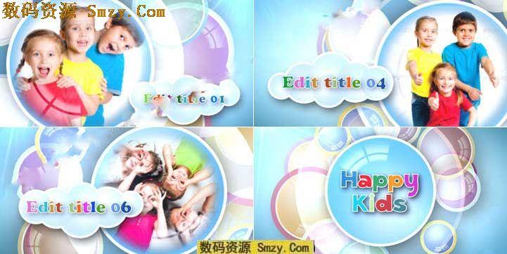 这个 色彩缤纷的儿童ae片头模板是以创意的泡泡转场进行照片变换的