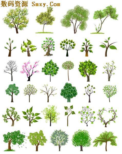 多种树木造型矢量素材