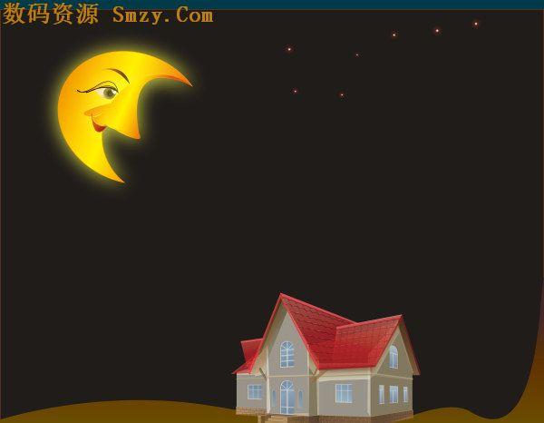 卡通月色房子背景矢量素材