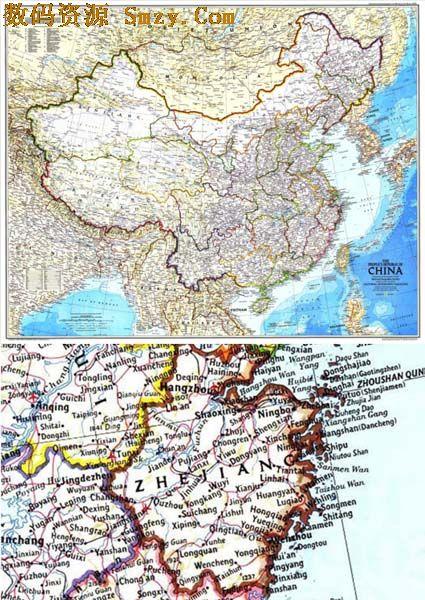 英文版牛皮纸中国行政地图高清图片