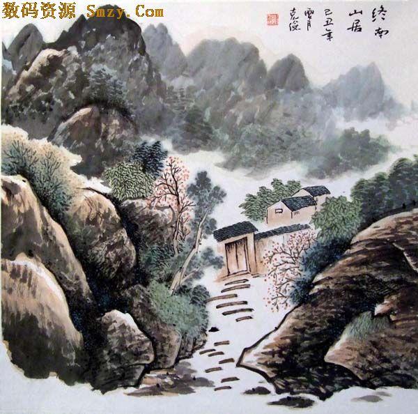 中国传统水彩山水画高清图片