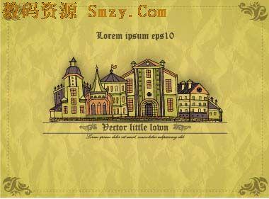 这张 欧式复古建筑图片矢量素材展示的是古典风情的楼房图案,格局非