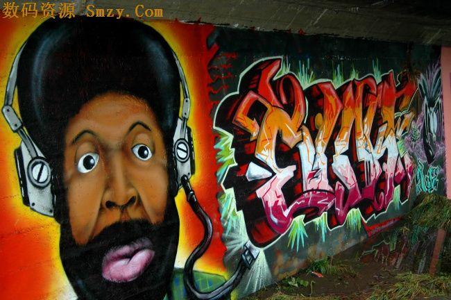 创意街头嘻哈风格涂鸦墙面高清图片下载图片