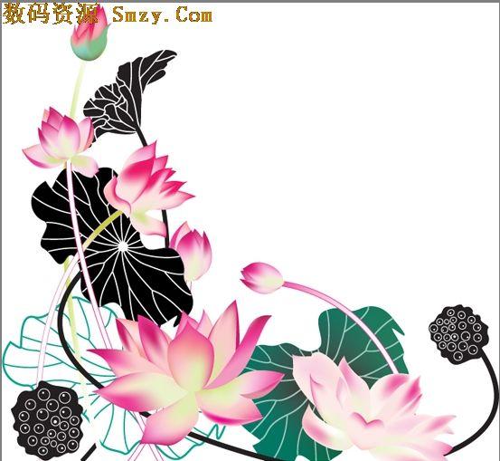 水彩莲花图片矢量素材