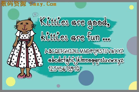 可爱猫咪卡通字体下载