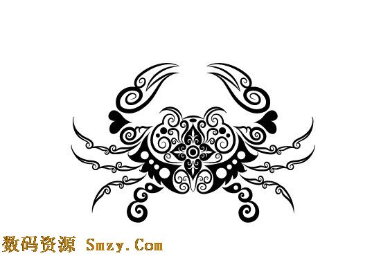 手绘花纹螃蟹图案矢量素材 - 矢量动物系列 - 数码