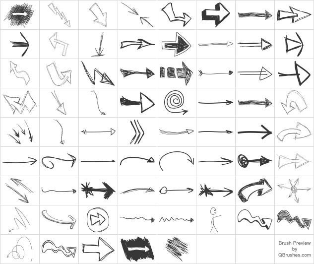 ps笔刷 高分辨率手绘箭头笔刷下载