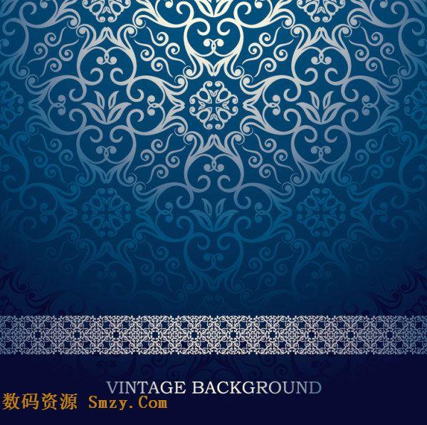 蓝色欧式花纹背景底图矢量素材