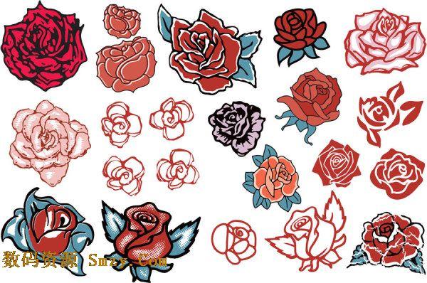 粉红玫瑰花朵矢量素材