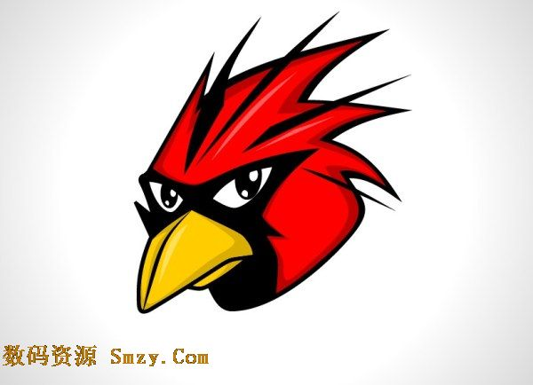 这张愤怒的小鸟图片矢量素材以灰色做背景衬托着红色