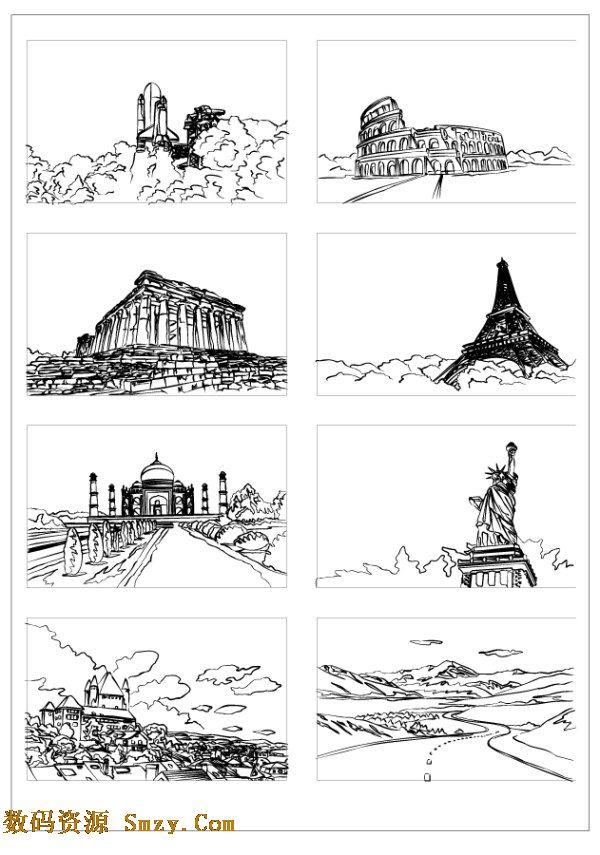 手绘线条建筑图片矢量素材