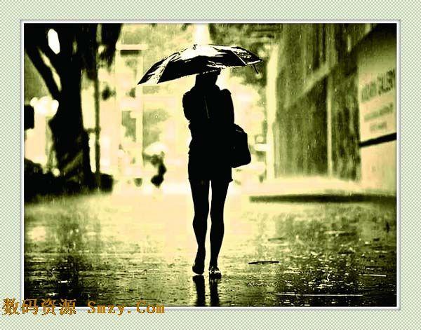 非主流雨中美女背影高清图片