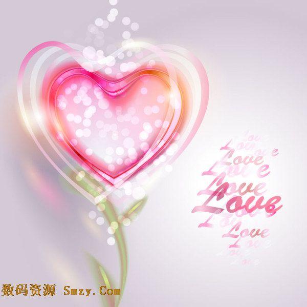 素材是一张设计精美的背景图片,炫彩光晕下笼罩着粉红色的心形花束