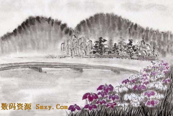 水墨风景之山水画矢量素材是典型的传统风格画品,远处有山有树,近处有