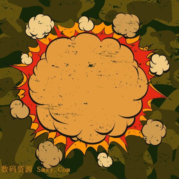卡通爆炸云团图片矢量素材是一款动漫题材的爆炸框,背后是浓厚的烟雾