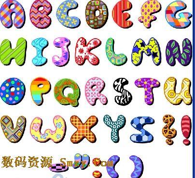字母的衣服都不相同,有彩色格子状,有条纹波浪的,有水波纹的,有带小花
