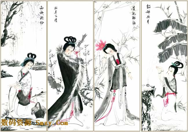 古代四大美女手绘版高清图片图片