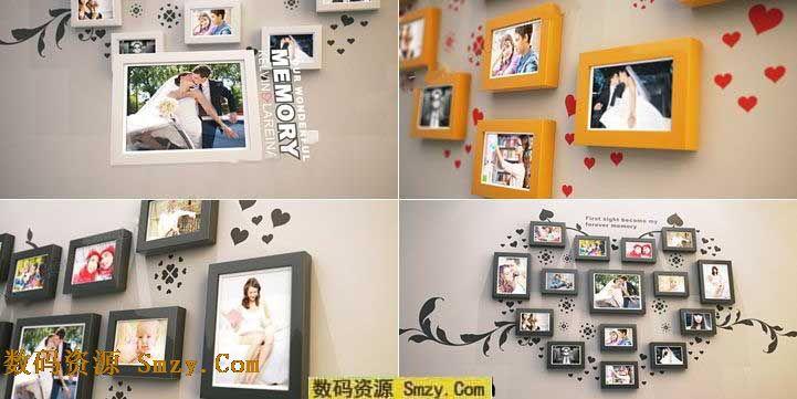 ae结婚相册模板心形照片墙ae模板图片