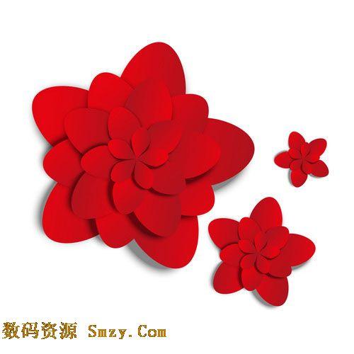 红色纸片花瓣图片矢量素材下载图片