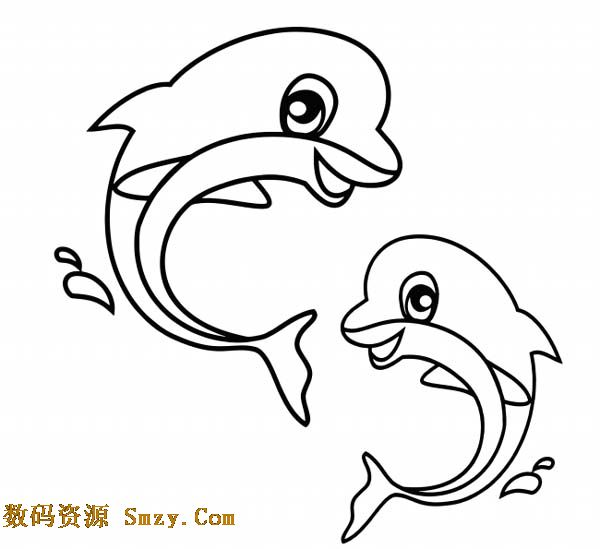 儿童简笔画动物类海豚高清图片