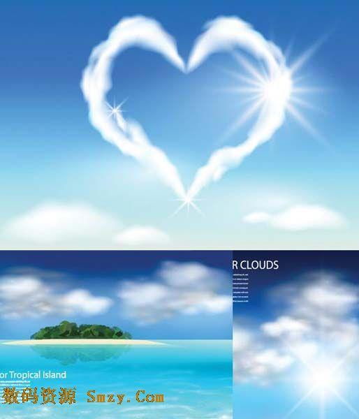 有创意的,云朵在蔚蓝的天空中组成了一个心形的图案,迎着阳光的照射