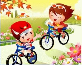 卡通人物骑车图片矢量素材是一张卡通题材的骑自行车出行的素材,画面图片