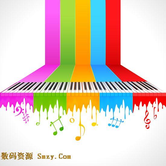 这张五彩琴键音符图片矢量素材就是展示创意琴键和音符搭配而成的图片图片