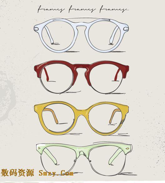 手绘彩色眼镜框图片矢量素材