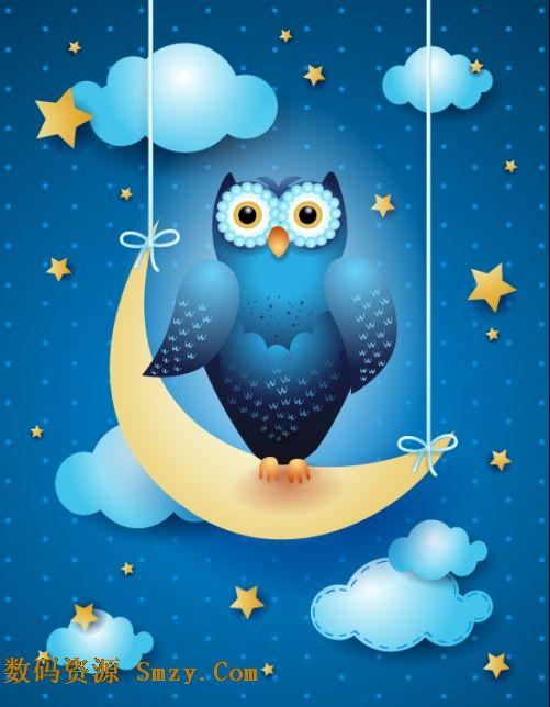 夜晚月亮上的猫头鹰图片矢量素材