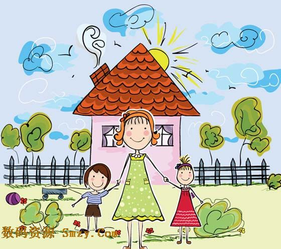 这张卡通手绘家园人物图片矢量素材正好满满的显示了温暖幸福的感觉