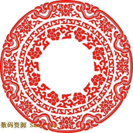 此张复古圆形花纹图片矢量素材展示了红色喜庆的图案,共三圈不同的