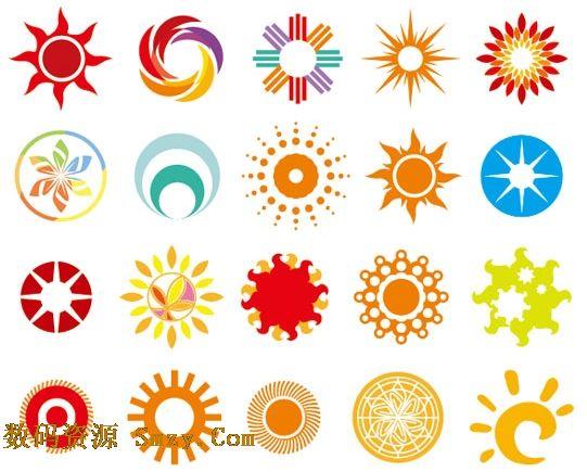 点渐变型,七彩花瓣形等等,多种想象中的太阳方式应有图片