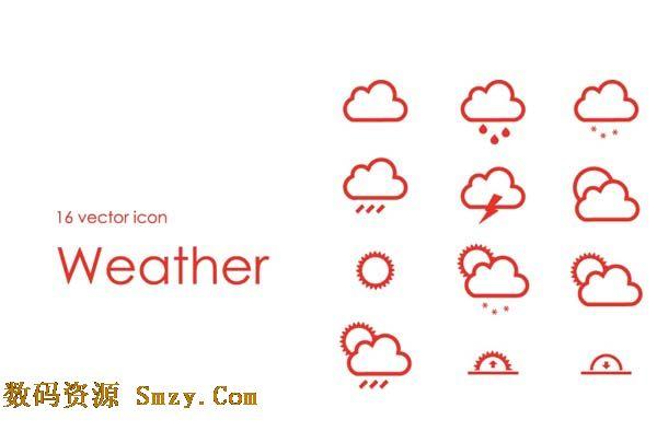 线条式天气图标矢量素材展示的就是多种天气的图示,主元素是云彩,太阳