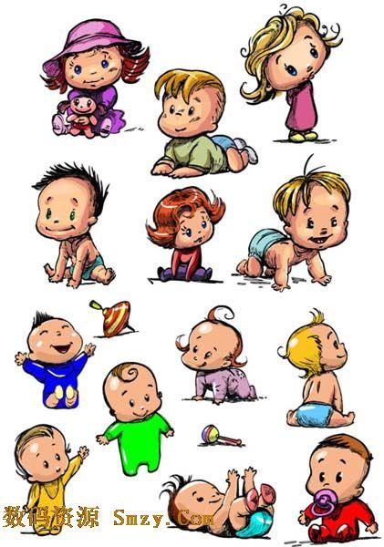 手绘卡通可爱宝宝矢量素材