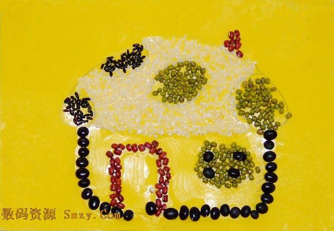 儿童手工豆贴画高清图片