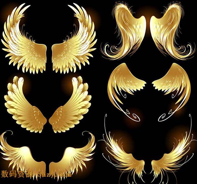 游戏金色质感翅膀设计矢量素材