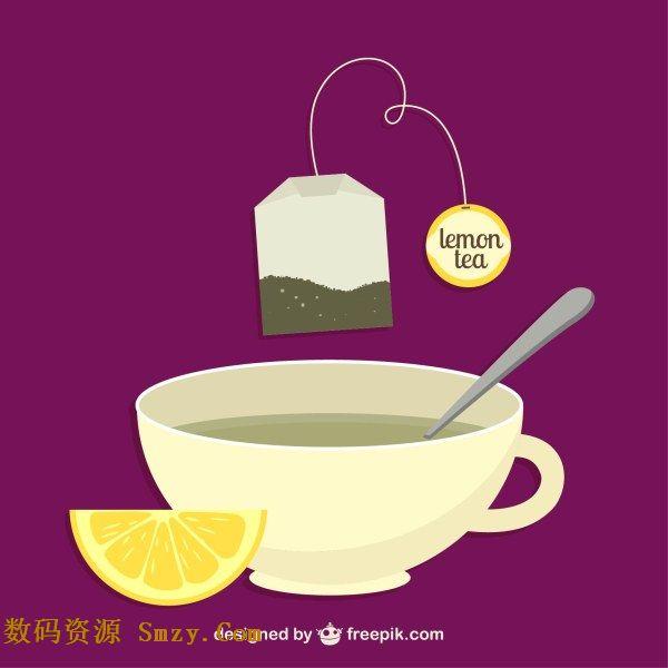 陶瓷杯柠檬茶饮料背景矢量素材