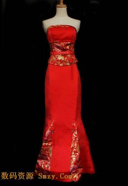 红色礼服之新娘旗袍模特展示高清图片