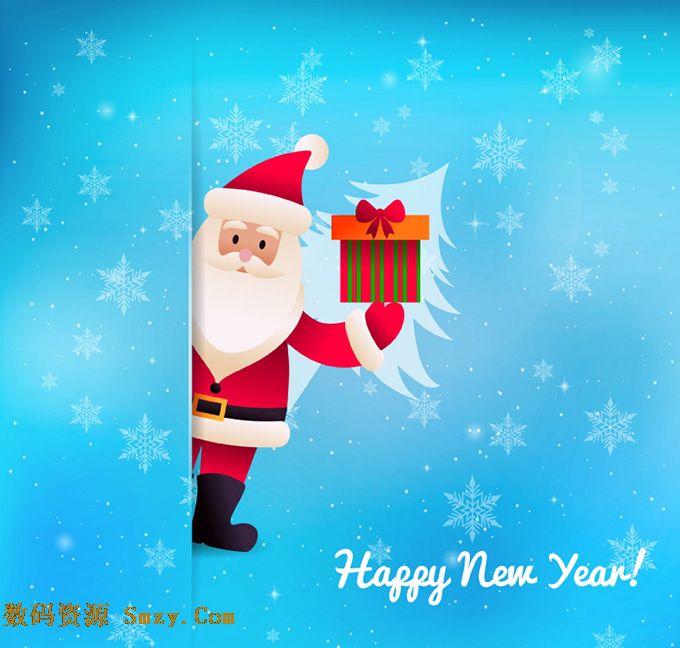 圣诞老人礼盒蓝色雪花背景矢量素材