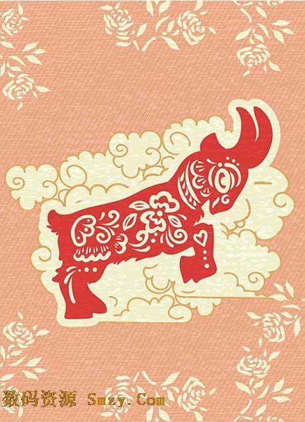 2015新年生肖羊剪纸花纹背景矢量素材下载