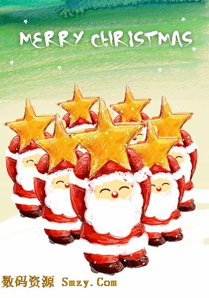 2015圣诞节手绘圣诞老人海报psd素材