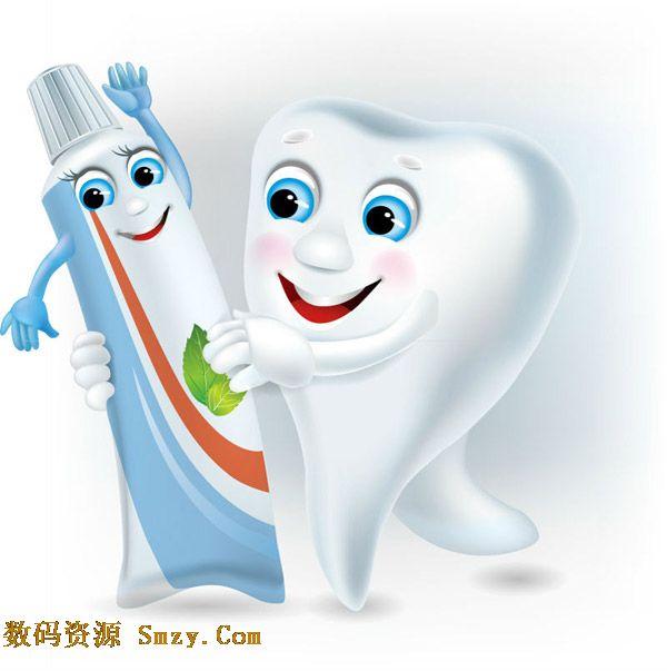 卡通牙齿与牙膏背景矢量素材