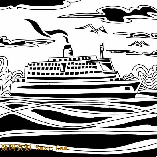 客轮海上航行黑白插画高清图片,用简约的黑白方式来展示轮船在海上