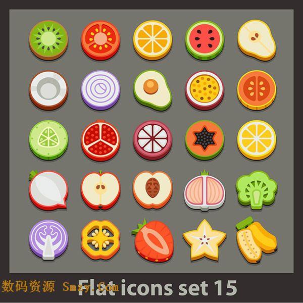 设计矢量素材向大家展示的就是多种水果切面,有鸭梨,西瓜,柠檬,苹果