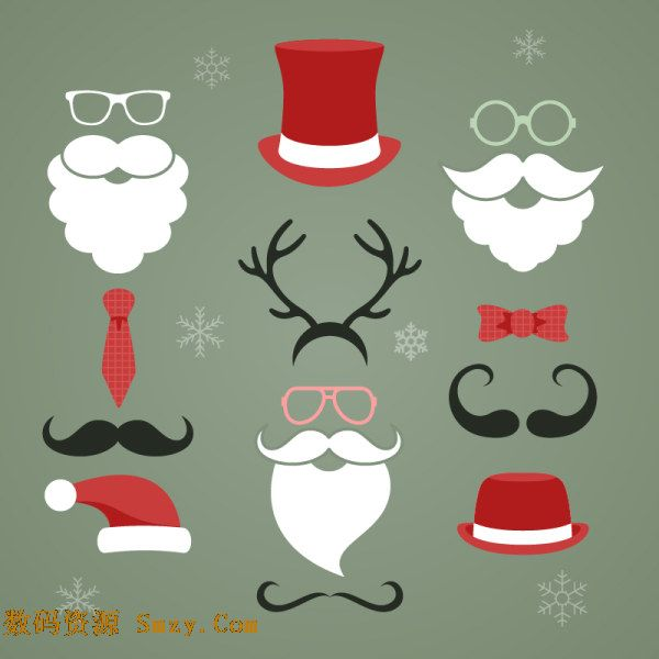 圣诞老人系列帽子胡子背景矢量素材