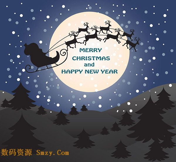 圣诞老人与麋鹿月空背景矢量素材
