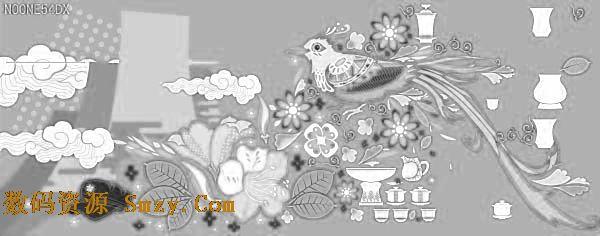 古典杜鹃花纹背景矢量素材