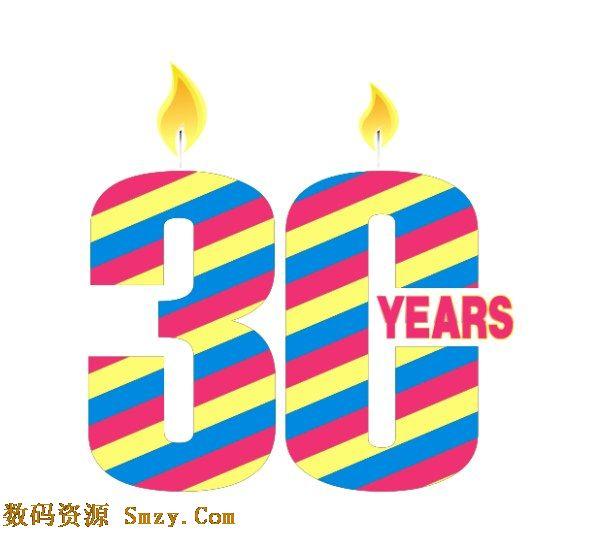 30周年彩色条纹蜡烛庆祝背景矢量素材