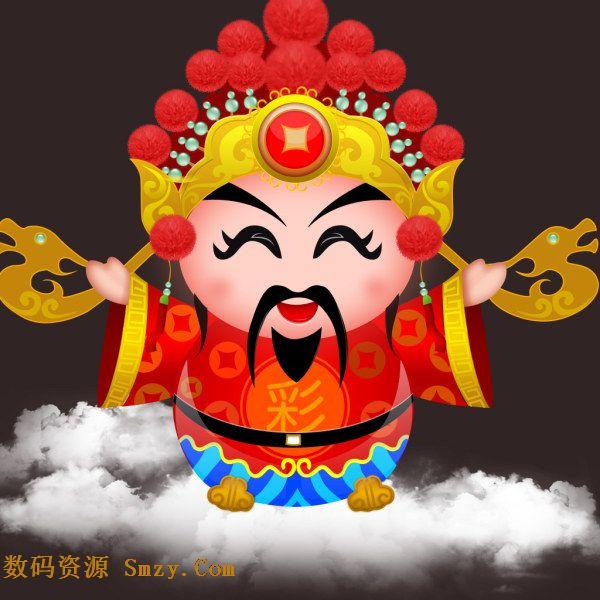 喜庆卡通财神人物形象设计psd素材